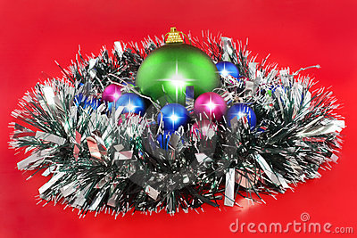 Christmas,  New Year decoration- balls, tinsel.
