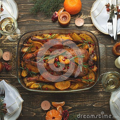 Christmas new year dinner group concept Flat-lay Stock Photo