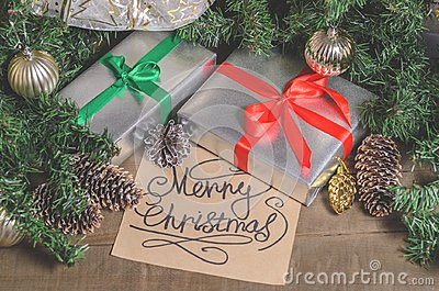 Christmas and New Year, gifts, toys, decor, fir and Christmas greetings Stock Photo