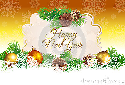Christmas and New Year greeting card or background
