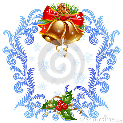 Christmas and New Year greeting card. Golden bel