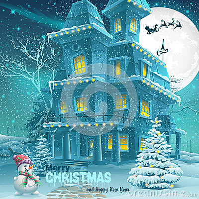 Christmas and New Year greeting card with the image of a snowy night with a snowman and Christmas trees Vector Illustration