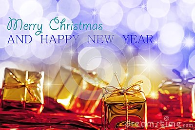 Christmas and New Year Greetings Card Stock Photo