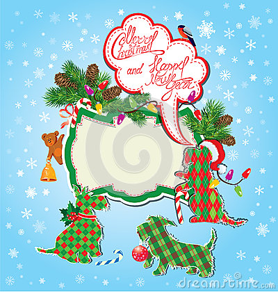 Christmas and New Year holidays card with funny sc