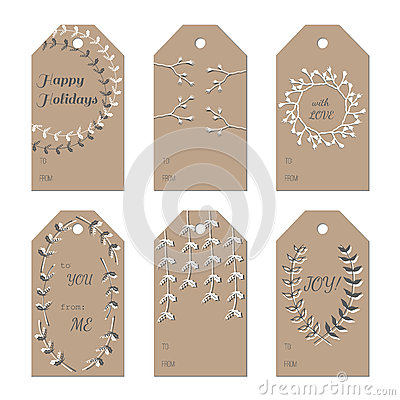 Vintage Wedding Gift Tag Templates Free : Christmas New Year Holidays Gift Tags Set Stock Vector - Image ...