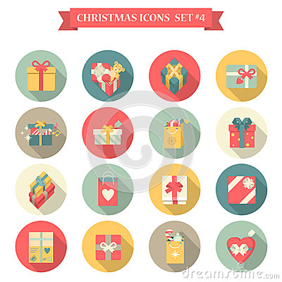 Free Christmas New Year Icon Set Flat Style Shopping Bag Gift Box Royalty Free Stock Photo - 45465075