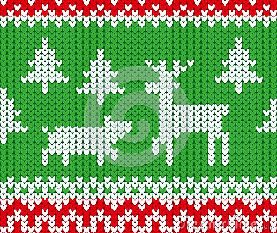 Christmas and New Year knitted seamless pattern with deer, pig and fir trees Vector Illustration