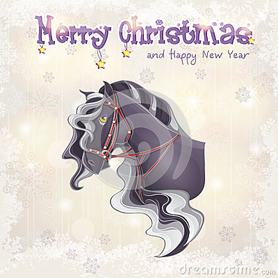 Christmas and the new year with a picture of a horse