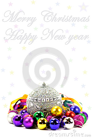 Christmas and new year postcard with balls