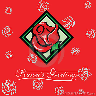 Christmas New Year Seasons Greeting Card with Rose