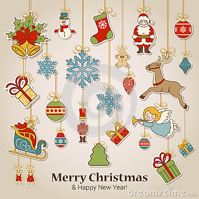 Free Christmas New Year Sticker Label Decorations Postcard Template Stock Photo - 46585580