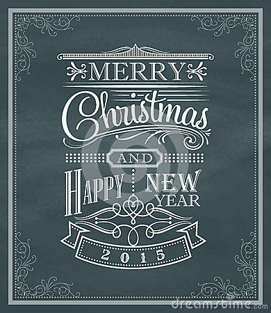 Free Christmas New Year Vintage Label And Frame On A Blackboard Royalty Free Stock Photos - 46943628