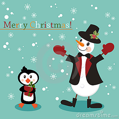 Christmas and New Years greeting card with snowman
