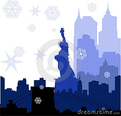 Christmas New York silhouettes illustration