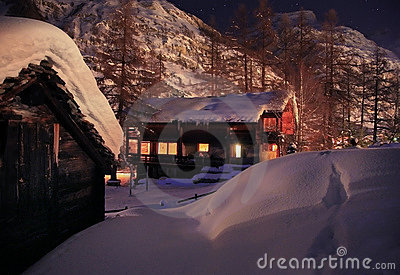 Christmas night in Alps