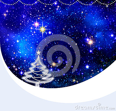 Christmas night sky background and fir tree.