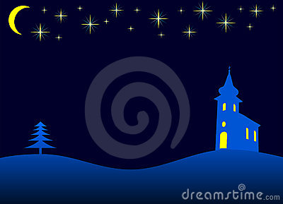 Christmas night - vector
