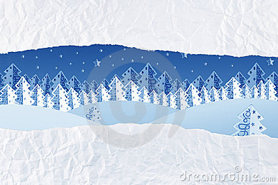 Christmas night winter scene as an unwrapped gift
