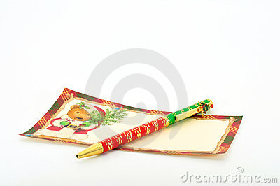 Christmas note and pen