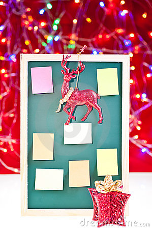 Christmas notice board with ornaments
