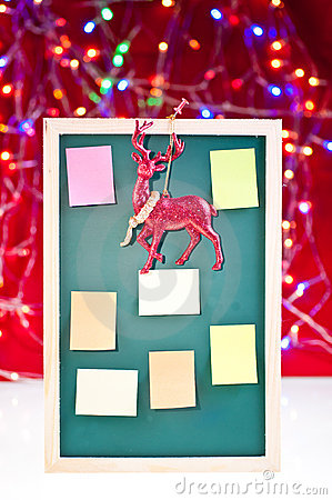 Christmas notice board with reindeer decoration