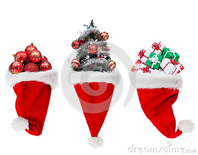 Christmas objects in santa hats