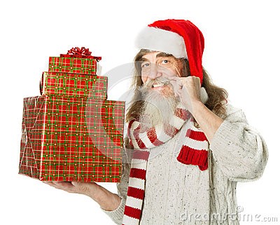 Christmas old man helper with beard in red hat hol
