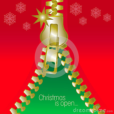 Christmas open zip square greetings card