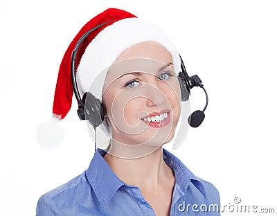 Christmas operator woman