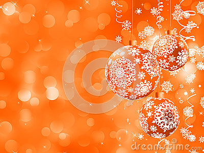 Christmas orange background with snowflakes. EPS 8