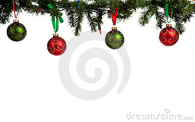 Christmas ornament/baubles hanging from garland