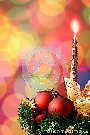 Christmas ornament on defocused lights background
