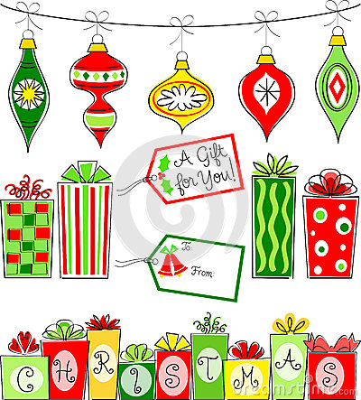 Retro Christmas Ornament and Gift Set/eps