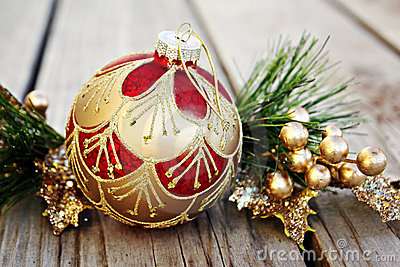 Christmas Ornament with Gold Berries