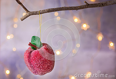 Christmas ornament red sugar coated candy apple hanging on dry tree branch. Shining garland golden lights. Beautiful background Stock Photo