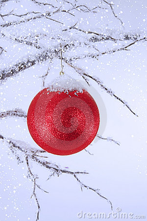 Christmas Ornament Topped with Snow