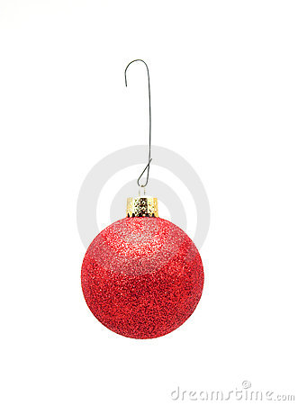 Christmas Ornament w/Hook - Red w/Glitter
