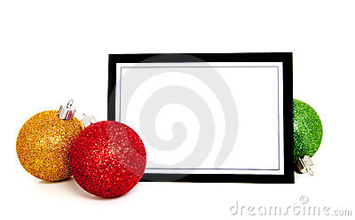 Christmas ornaments/bauble around a note card