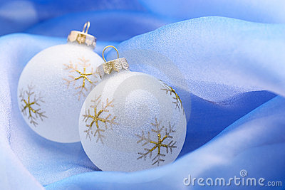 Christmas ornaments on blue