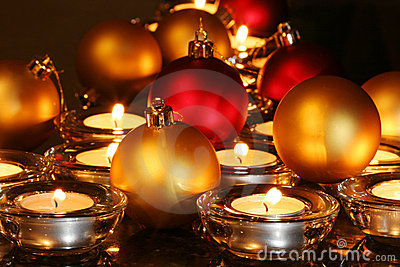 Christmas ornaments, candles