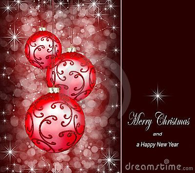 Christmas ornaments on a dark red background