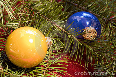 Christmas Ornaments with Douglas Fir Branch