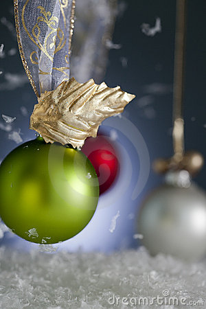 Christmas Ornaments with Falling Snow
