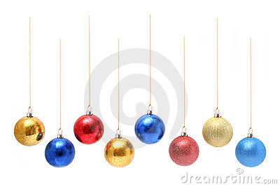Christmas ornaments in the form of glass spheres