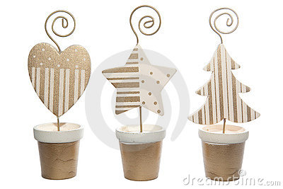 Christmas ornaments on isolated white