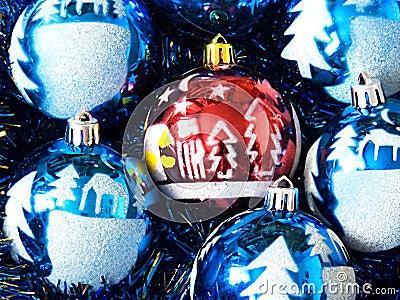 Christmas ornaments lie but a rain