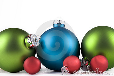 Christmas ornaments lined up, isolated