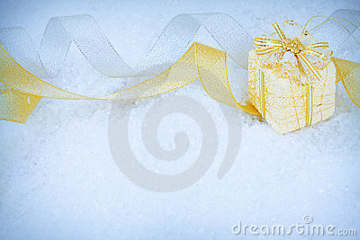 Christmas ornaments on a snow