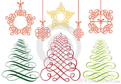 Christmas ornaments, vector set