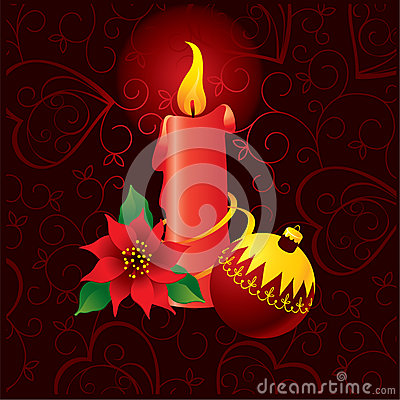 Christmas ornate background with candle